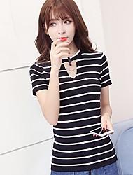 Damen Gestreift Einfach Lässig/Alltäglich T-shirt,Rundhalsausschnitt Kurzarm Andere