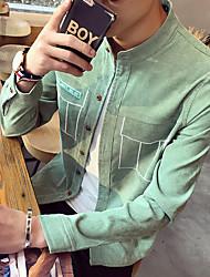 Masculino Camisa Social Casual SimplesSólido Outros Colarinho Chinês Manga Longa