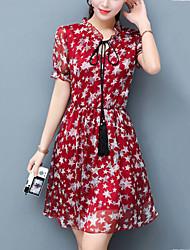 Women's Slim Elegant chic A Line Dress Print Stand Mini Short Sleeve Summer Mid Rise Inelastic Medium