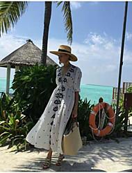 Mujer Corte Ancho Corte Swing Vestido Playa Vacaciones Bonito,Bordado Escote en Pico Midi 1/2 Manga Algodón Verano Otoño Tiro Alto