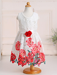 Princess Floor-length Flower Girl Dress - Cotton Lace Scoop with Flower(s) Pattern / Print