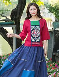 Tee-shirt Femme,Imprimé Sortie Vintage ½ Manches Col Arrondi Polyester
