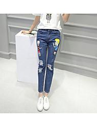 Women's High Rise Micro-elastic Jeans Pants,Street chic Simple Skinny Animal Print