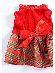 Chien Robe Vêtements pour Chien Eté Princesse Mignon Mode Décontracté / Quotidien Rouge
