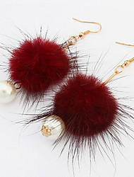 Drop  Earrings  Lady  Girls' Feather Peal  Ball  Euramerican  Personalized  Elegant  Party  Daily  Drop Earrings  Statement  Movie  Jewelry