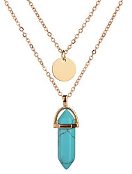 6 Colors 2017 Summer Fashion Simple Bohemian Natural Stone Pendant Necklace Round Hexagonal Column Double Layer Necklace For Women Jewelry