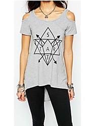 Tee-shirt Femme,Imprimé Décontracté / Quotidien simple Manches Courtes Bateau Coton