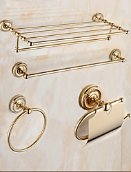 Mordern Gold Color Luxury Brass 4pcs Bathroom Accessory Set