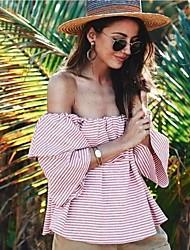 Damen Gestreift Einfach Ausgehen T-shirt,Schulterfrei Kurzarm Baumwolle