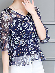 Women's Casual/Daily Simple Blouse,Floral V Neck ¾ Sleeve Silk