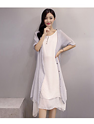 Summer dress cotton dress literary temperament retro two-piece suit female summer casual linen suits