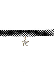 Fashion Women Trendy Star  Rhinestone  Lace Choker  Pendant Necklace