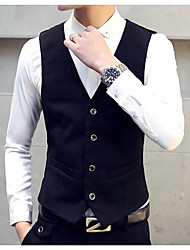 Men's Club Simple Tank Top,Solid V Neck Sleeveless Linen