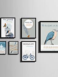 E-HOME® Framed Canvas Art   Simple Bird And Feather Color Series Theme Series Framed Canvas Print One Pcs