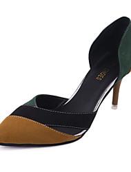 Women's Heels Comfort PU Spring Casual Comfort Stiletto Heel Black Khaki 2in-2 3/4in