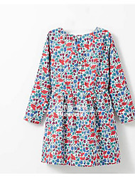 Girl's Casual/Daily Print Dress,Cotton Summer Long Sleeve