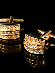 Argola Prendedor de Gravada Clipe de gravata Cobre Moda Caixas de presente e Bolsas Botões de Punho Dourado 1 par