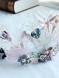 Tulle Alloy Fabric Headpiece-Wedding Special Occasion Casual Outdoor Wreaths 1 Piece