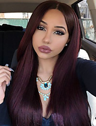 Burgundy Color Synthetic Lace Front Wigs Long Straight Hair Heat Resistant Fiber Hair Wig for Woman
