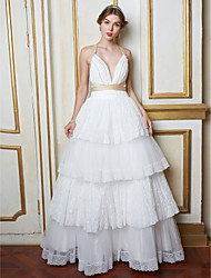 A-line Wedding Dress Beautiful Back Floor-length V-neck Lace Tulle with Lace Pearl