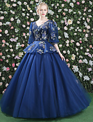 Ball Gown Princess V-neck Floor Length Lace Satin Tulle Formal Evening Dress with Appliques Flower(s) Pattern / Print Bandage by QZ