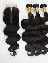 4Pcs/Lot Peruvian Virgin Hair Body Wave Hair Weft With 1Pcs Lace Closure Middle  Part Raw Human Hair Weaves