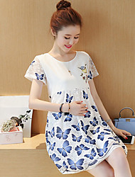 Maternity Summer Wear Fashionable Sweet Fashion  National Wind Bud Silk Chiffon Butterfly  Leisure Pregnant Women Dress