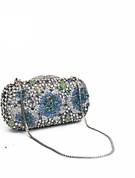 Women Luxury Crystal Clutches and Evening Bags with Floral Design