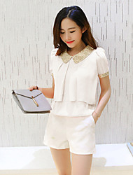 Women's Casual/Daily Simple Blouse,Solid Square Neck Short Sleeve Others