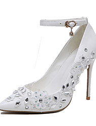 Women's Heels Spring Club Shoes Leatherette Wedding Dress Stiletto Heel Rhinestone Stitching Lace Flower White