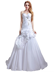 Princess Wedding Dress Court Train Sweetheart Chiffon with Beading Pick-Up Ruche