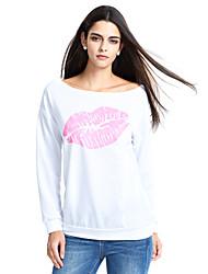 Damen Solide Sexy / Niedlich Ausgehen / Lässig/Alltäglich T-shirt,Tiefes U Langarm Weiß / Schwarz / Grau Baumwolle