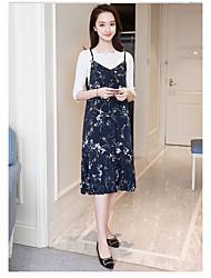 Women's Casual/Daily Loose Dress,Floral Strap Midi Sleeveless Silk Summer Mid Rise Micro-elastic Thin
