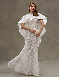 LAN TING BRIDE Trumpet / Mermaid Wedding Dress - Classic & Timeless Two-Piece See-Through Floor-length Jewel Lace Satin with Appliques