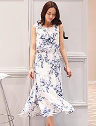 Damen Swing Kleid-Ausgehen Blumen Rundhalsausschnitt Maxi Ärmellos Seide Sommer Mittlere Hüfthöhe Mikro-elastisch Dünn