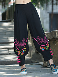 Women's Mid Rise Inelastic Chinos Pants,Chinoiserie Loose Print