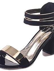 Женские сандалии летний комфорт pu наружный блок каблук пряжка ходьба