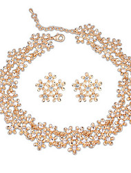2 PCS  Euramerican Flower Statement Collar Choker Rhinestone Necklace&Stud Earring Sets Vintage Women Jewelry Gold