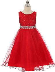 Ball Gown Knee-length Flower Girl Dress - Cotton Lace Tulle Sequined Scoop with Buttons Lace Sequins