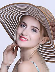 Feminino Casual Algodão Verão Chapéu de sol,Listrada