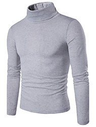 Standard Pullover Da uomo-Casual Semplice Tinta unita A collo alto Manica lunga Cotone Primavera Medio spessore Media elasticità