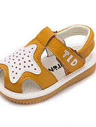 Kids' Baby Sandals First Walkers Cowhide Summer Casual First Walkers Flat Heel White Yellow Blue Flat