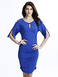 Women's Solid Club Sexy Plus Size / Bodycon Dress,Round Neck Blue / Red / Black / Green