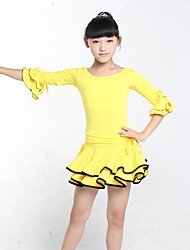 Latin Dance Dresses Kid's Performance Spandex 1 Piece Half Sleeve Natural Dress