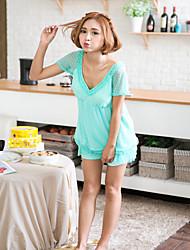 Женский пижамный набор v шеи кружева лоскутное одеяло сладкий случайный домашний костюм