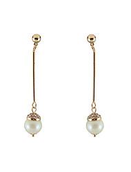Drop Earrings Imitation Diamond Imitation Pearl Unique Design Tag Square Imitation Pearl Fashion Personalized Hypoallergenic ClassicCowry