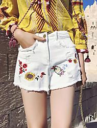 Women's High Waist Micro-elastic Jeans Shorts Pants Street chic Loose Wide Leg Holes /Embroidered /Tassel Print
