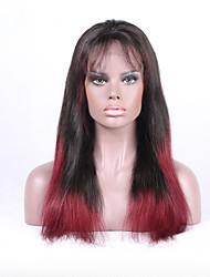 Cor do ombre do beata cor 1b / 99j peruca reta da parte dianteira do laço cabelo humano remy brasileiro remy brasileiro