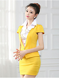 Women's Work Cute Blazer Dress Suits,Solid Notch Lapel Short Sleeve Jacquard strenchy