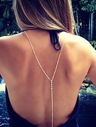 Femme Pendentif de collier Zircon cubique Chaîne unique Imitation de perle Alliage Basique Original Pendant Sexy Or Argent Bijoux Pour